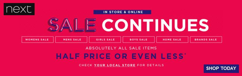 Next Summer Sale half price sale