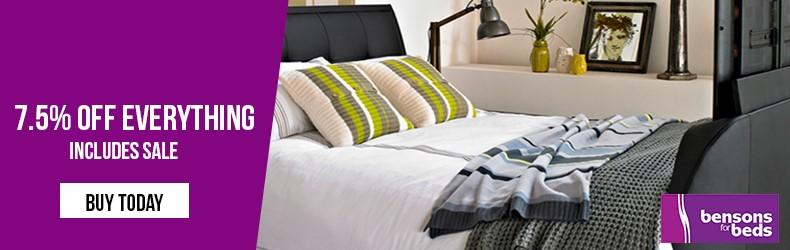 Bensons for Beds 7.5% off everything slider